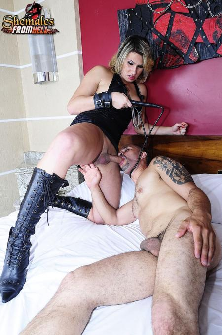 sexy shemale Shemale dominatrix takes control of her man